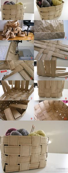 DIY cestos para tu casa. paper packaging upcycled into baskets. I HAVE to do this