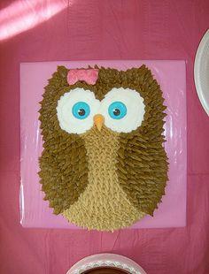 Buttercream owl birthday cake