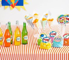 The comic–obsessed are in for a real treat with this electrifying idea. Pop on punchy labels to soda pop and juice bottles and prepare bags of power… err, chocolate in a rainbow of colors. Have items for grabbing on–the–go like paper cones filled with cheese puffs and oversized lollipops.