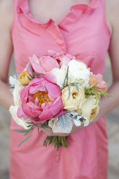 #peony #bouquet  Photography: Sarah Kate - sarahkatephoto.com  View entire slideshow: Peony Bouquets on http://www.stylemepretty.com/collection/572/