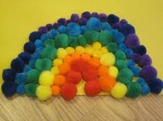 A creative, colorful project for preschoolers  using pom-poms to learn the colors of a rainbow!