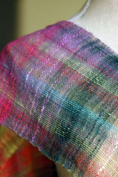 woven scarf, french press, noro yarn, green, dust