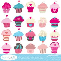 20 deliciously cute cupcakes for your beautiful designs, scrapbook projects, cards, invitations, birthday parties, and more.