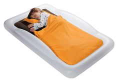 The Shrunks Tuckaire Toddler Travel Bed - an inflatable air mattress for your little one, allowing crib-sized sheets to tuck into the inner mattress to keep sheets off the floor, and featuring side protection to keep your child from rolling off.