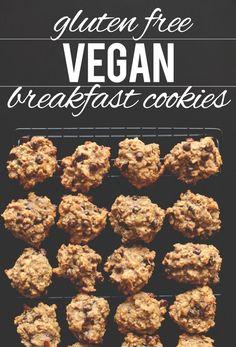 Gluten Free Vegan Breakfast Cookies - eggs, bananas, peanut butter, coconut oil (or canola oil), vanilla, agave nectar or honey, GF rolled oats, oat flour, almond meal, baking powder, baking soda, salt,