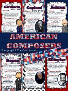 American Composers Bulletin Board Set.  50% off 4/16 & 4/17