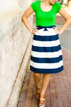 Womens Structured Navy and White Striped Bow ALine by HannahEverly, $44.99