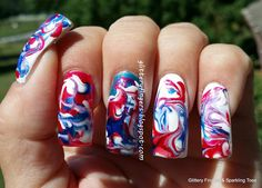 Glittery Fingers & Sparkling Toes: Red, White & Blue Dry Marble