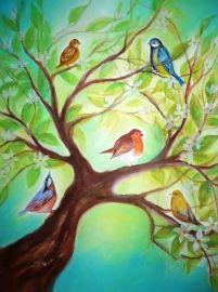 PO0002 Vogeltjes in boom
