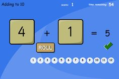 Add two numbers by rolling the dice. The Adding Two Dice version of this game uses dice with spots. Double the dice ... or add to 10 or 12. Can be played with or without a time limit.