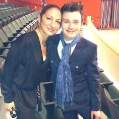 Gloria Estefan with Chris Colfer as she prepares to shoot her scenes for the season finale!