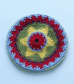 This crochet frisbee made with Vanna's Choice can fold up to fit in your pocket! Soft and child-friendly, it makes a great gift.