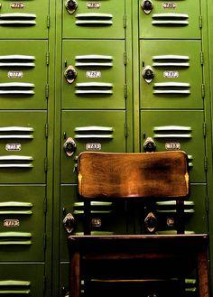Lime green vintage lockers