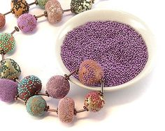 Rolling pc beads in micro-beads. #Polymer #Clay #Tutorial would go cute for your room idea bea....