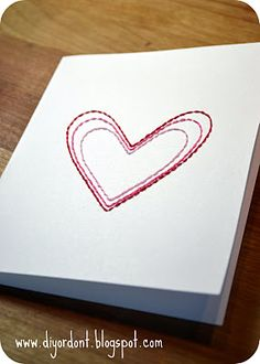 Simple hand stitched card with multi colored string