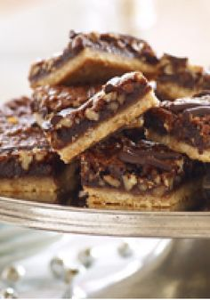 Chocolate-Pecan Pie Bars — You'd have to bake a lot of pies to please a crowd – but this recipe, an over-the-top scrumptious dessert, makes 48 servings!
