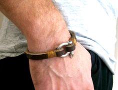 Men's Bracelet Simple Leather Bangle Shackle Clasp Mens Leather Bracelet Best Selling Gift For Him -Brown - Unique Gift