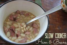 Slow Cooker Ham & Beans   TheMarathonMom.com