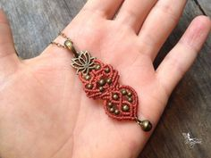 Micro macrame necklace peach pendant lotus par creationsmariposa, $22.00