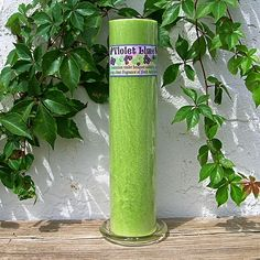 A Violet Lime scented palm wax pillar candle. The 3 inch diameter X 12 5/8 inches tall Palm Wax pillar candle weighs 2 pounds 13 ounces. This aromatic palm wax pillar candle scent Violet Lime is best described as a luxurious fragrant violet blended w Check out our bright and sassy home decor items at www.CreativeHomeDecorations.com pillar candl, violet, lime scent, lime green, tall palm, palm wax