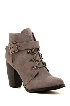 Grey Lace-Up Bootie