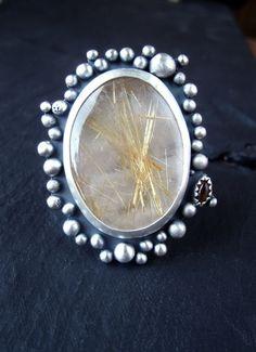 The Living Sun -----   Rutilated Quartz Sterling Silver Ring