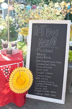 hot dog bar, food tables, chalkboard signs, carnival wedding, burger bar, wedding foods, hot dogs, parti, bar food