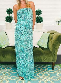 Lilly Pulitzer Morada Fitted Strapless Maxi Dress via @racked
