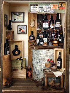 Antique Small Wine Bar -handmade Dollhouse Miniatures