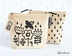 Screen printed wash bag by Supercrafti on Etsy