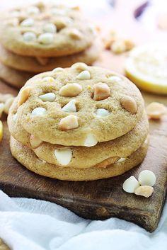 Lemon White Chocolate Chip Macadamia Nut Cookies recipe on { lilluna.com }
