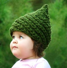 A cute little gnome hat :) baby girls clothes, knitting patterns, hat patterns, baby hats, knit hat, gnome hat, gnomes, sweet peas, babi gnome