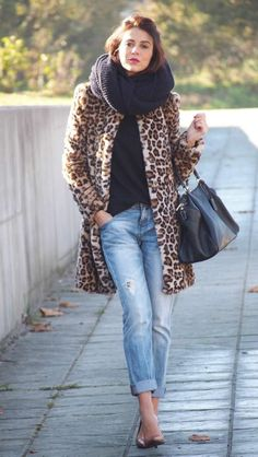 Fashionista: Winter Leopard Coat and Jeans+Lovely Scarf