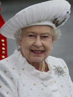 The Queen arrives at Chelsea Pier during the Diamond Jubilee River Pageant on the River Thames in London, 3 June 2012.