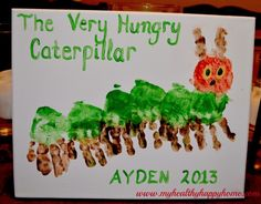"""Munch, munch, munch SQUISH! Get """"hands on"""" to make your own very hungry caterpillar with this adorable craft from My Healthy Happy Home."""