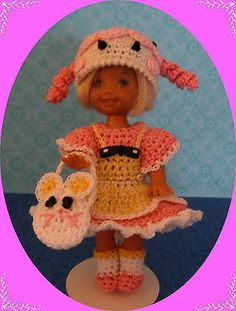 """Crochet Doll Clothes Pink Loopsy for 4 ½"""" Kelly Same Sized Dolls 