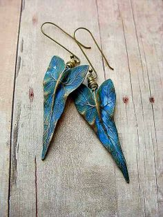 Tropical Earrings Ocean Blue Gold Brass Caladium by MySelvagedLife, $22.00