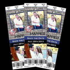 LOVE THIS! SAVE the Date Wedding BASEBALL Football Basketball Sports Ticket Invite Invitation Personalized Photo Custom card