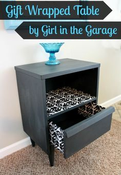 Awesome table makeover with Chalk Paint, Mod Podge, and wrapping paper!  girlinthegarage.net