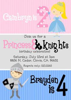 Princess And Kinght Invitation Printable Knight Birthday