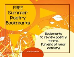 FREE Summer Themed Poetry Bookmarks
