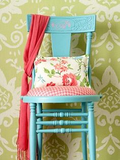 A chair like this can be found at flea markets etc.  Paint with a fun accent color!   (Always lightly sand and prime first, use tinted primer tinted in the chair color).  FAB. on a budget!