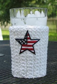 jacket, cup cozi, famili, red white blue, drink, glass, 4th of july, brush, crochet patterns