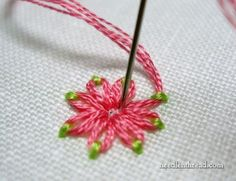 lazy daisy stitch - pretty with two colors! #embroidery