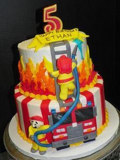 orange firetruck cake | Plumeria Cake Studio: Firefighter Birthday Cake