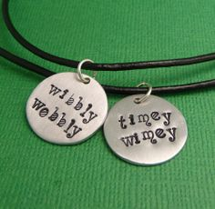 Doctor Who Best Friends Necklaces... @Amanda Seidel I get dibs on Wibbly Wobbly!