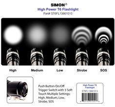 Click Here to Learn more about handheld #LEDflashlight functions for Simon #CreeledFlashlights T6 Pro.  http://www.simonflashlights.com/product/cree-led-flashlight-t6-pro/ On Sale $29.97