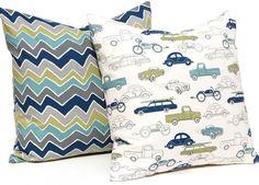 Pillow Covers Baby Boy Nursery Boy Bedding Decorative Throw Pillow Covers Kids Room Children Decor 18 x 18 - Chevron Cars on Etsy, $34.00