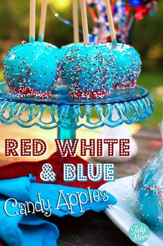Red White and Blue Candy Apples apple recipes, fourth of july, memorial day, food, candi, red white blue, candy apples, 4th of july, caramel apples