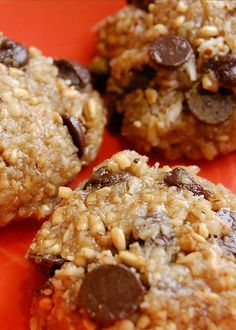 """coconut & carob chip """"cookies"""" w/ walnuts, steel cut oats, agave, almond butter, coconut"""
